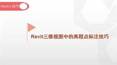 软件小技巧:Revit三维视图中的高程点标注技巧